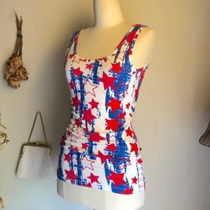 Tops - Cool RED WHITE BLUE Americana Cotton Tank Top!